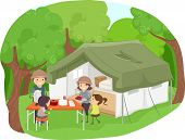 image of tent  - Illustration Featuring a Family Having a Picnic Beside a Safari Tent - JPG