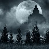 stock photo of fantasy  - Magic castle silhouette over full moon at mysterious night - JPG