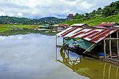 Hut On Lake After Rains