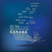 Canada map made with name of cities - vector illustration