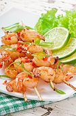 Shrimp grilled in garlic and soy caramel