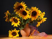 Beautiful Sunflowers In Ceramic  Jar