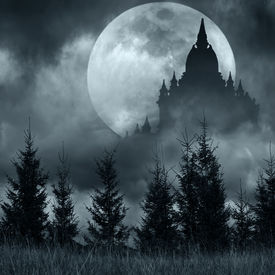 foto of moonlight  - Magic castle silhouette over full moon at mysterious night - JPG