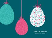 Vector abstract colorful drops hanging Easter eggs ornaments sillhouettes frame card template