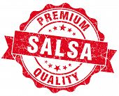 Salsa Red Grunge Seal Isolated On White