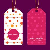 Vector abstract colorful stripes and shapes vertical round frame pattern tags set