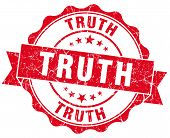 Truth Red Grunge Seal Isolated On White