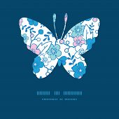 Vector blue and pink kimono blossoms butterfly silhouette pattern frame