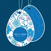 Vector blue and pink kimono blossoms Easter egg shaped tags set template
