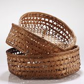 bamboo basket on the white background
