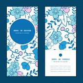 Vector blue and pink kimono blossoms vertical round frame pattern invitation greeting cards set