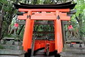 stock photo of inari  - Fushimi Inari Shrine is an important Shinto shrine in Southern Kyoto Japan - JPG