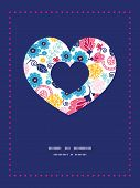 Vector fairytale flowers heart symbol frame pattern invitation greeting card template