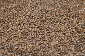 Surface covered with roasted coffee beans