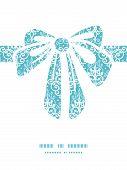Vector light blue swirls damask gift bow silhouette pattern frame
