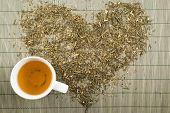 Green tea heart shape top view