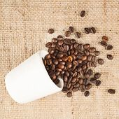 Cup full of coffee beans over hessian cloth