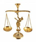 Metal two-pan scales statuette