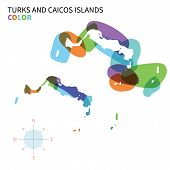 Abstract vector color map of Turks and Caicos Islands with transparent paint effect.