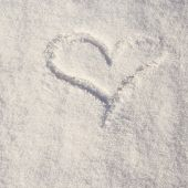 Heart shape made in snow