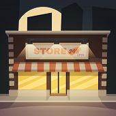 Cartoon store at night