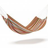 stock photo of bunk-bed  - Colored hammock isolated on a white background - JPG