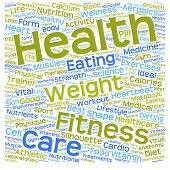Concept or conceptual health, diet or sport text word cloud tagcloud isolated on white background