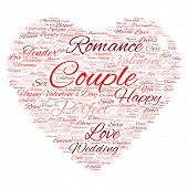 Concept or conceptual red love or Valentine`s Day wordcloud text in shape of heart symbol isolated on white background