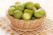 Brazilian Fresh Fruit Spondias Tuberosa (brazil Plum, Umbu, Imbu) In Wocker Basket