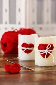 Handmade Crochet Red Heart For Candle With Skein For Saint Valentine's Day