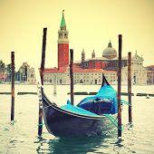 Gondola in Venice. Instagram style filtred image