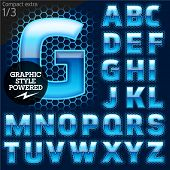 Techno style alphabet sensitive to the background. Compact extra. Set 1