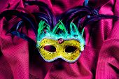 picture of brazil carnival  - Classic carnival of Brazil mask over red cloth - JPG