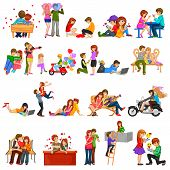 picture of friendship day  - easy to edit vector illustration of couple in romantic pose for Happy Valentine - JPG