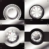 Volume Knobs With Black And Metallic Elements