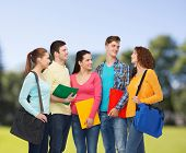 friendship, vacation, education and people concept - group of smiling teenagers with folders and school bags over park background