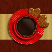 Cup Of Coffee With Two Valentines Cookies
