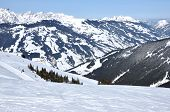 High Mountain Slope With Fresh Snow In The Alps