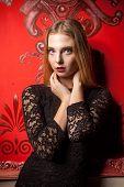 Portrait Of Sensual Girl In Black Dress