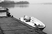 Po river moorage. Black and white photo