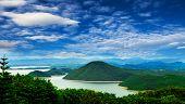 Scenic of Srinakarin dam at kanchanaburi of Thailand