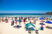 SYDNEY, AUSTRALIA-DEC 21, 2014 :People relaxing at Manly beach in Sydney, Australia on Dec 21. 2014 .Manly beach is one of a famous beach in the world.
