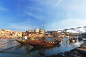 traditional boats with wine barrels old Porto Portugal