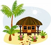 image of beach-house  - vacation on a tropical island in a small bungalow - JPG