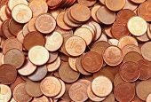 Pile Of 1 Euro Cents