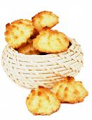 stock photo of passover  - Traditional Homemade Passover Cookies Coconut Macaroons in Wicker Bowl isolated on white background