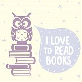 cute owls and books