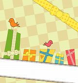 Sweet colorful gifts on a banner