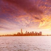Manhattan skyline New York from Liberty Island US USA