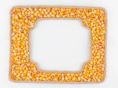 Two Frames Of The Rope With Corn  Grain On A White Background